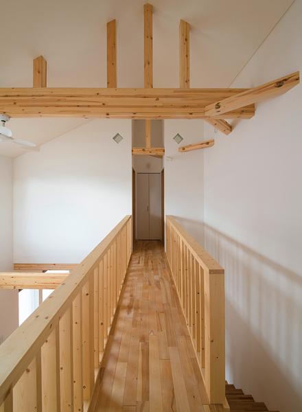 吹き抜けに面するブリッジを渡ると、正面に収納、両サイドに寝室がある